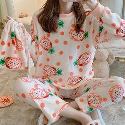 럽야 귀여운 극세사 여성 겨울 수면 세트잠옷