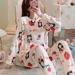 딸기소녀 겨울 극세사 수면 바지 잠옷세트