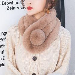 베이키 여성 겨울 방울 포인트 페이크퍼 머플러