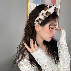 바주리 여성 겨울 호피 레오파드 헤어밴드 머리띠