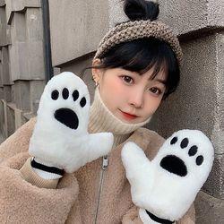 라코 귀여운 발바닥 겨울 벙어리 털장갑