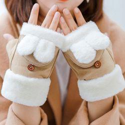 레이즈 여성 겨울 토끼 손가락 페이크퍼 장갑