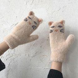 냐옹 귀여운 고양이 벙어리 겨울장갑