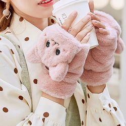 로쥬 귀여운 고양이 벙어리 겨울 손가락 털장갑