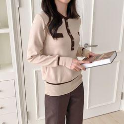 여자 겨울 포켓 카라 포인트 배색 여리핏 청순 긴팔티
