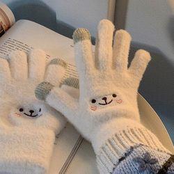 큐티 스마일 스마트폰 터치 장갑 겨울 방한 장갑