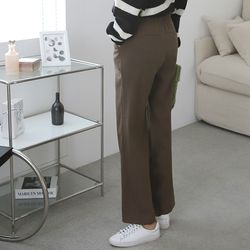 여자 겨울 피치 핀탁 일자핏 통큰 팬츠
