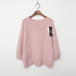 Whole Raccoon Fox Wool Sweater - 9부소매