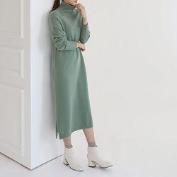 Whole Cashmere Wool Turtleneck Long Dress