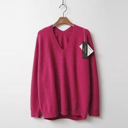 Whole Raccoon Fox Wool D V-Neck Sweater