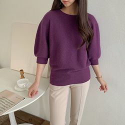 Whole Alpaca Wool Puff Sweater - 7부소매