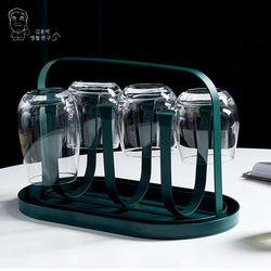 북유럽 모던 메탈 컵걸이6구 컵건조대 거치대 물받이(다크그린)