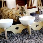 엉클펫 강아지 고양이 높이조절 자작나무 식탁 밥그릇 3구