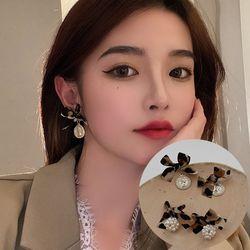 오레린 호피 리본 패션 귀걸이