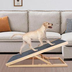 반려견 강아지 원목 접이식 슬라이드 높이 조절 계단