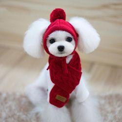 겨울 강아지 고양이 반려 동물 모자 목도리 세트