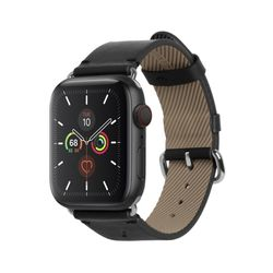 LEATHER STRAP FOR APPLE WATCH BLACK 44mm