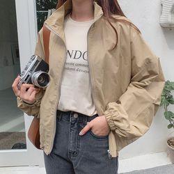 여자 겨울 사파리 트렌치 투포켓 크롭 스트링 자켓