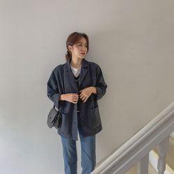 여자 겨울 베이직 단정한 버튼 포켓 소프트 자켓