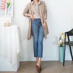 여자 겨울 트렌치 미니멀 베이직한 포켓 미디 자켓