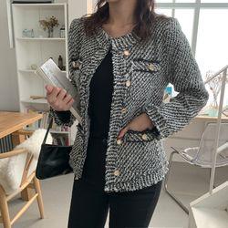 여자 겨울 고급스런 파티룩 라운드 버튼 트위드자켓