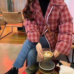 여자 겨울 캔퍼스룩 귀엽고 펑펑한 체크카라 패딩