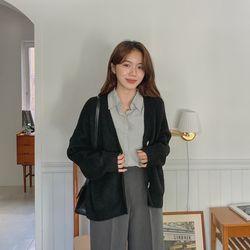여자 겨울 스판 편한 사무용 루즈핏 브이넥 가디건