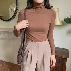 여자 겨울 스판 딱붙는 여리핏 솔리드 기모 폴라 긴팔
