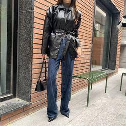 여자 겨울 감각적인패션 스트랩 루즈 레더 라이더자켓