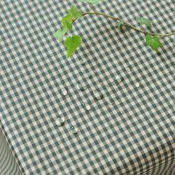 미니 컨츄리체크 방수식탁보 - 카키 2인용 110cm