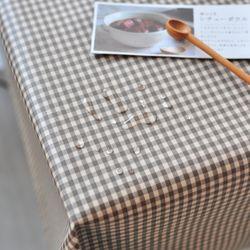 미니 컨츄리체크 방수식탁보 - 브라운 2인용 110cm