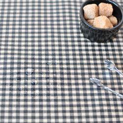 미니 컨츄리체크 방수식탁보 - 블랙 2인용 110cm