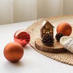 8cm 크리스마스믹스볼 (4개세트) - 브릭레드