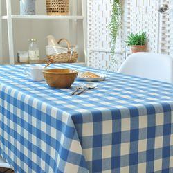와이드 체크  방수식탁보 - 블루 2인용 110cm
